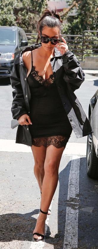 dress kim kardashian camisole slip dress black dress
