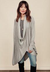 sweater,grey,cardigan,layer,thumb holes,thumbholes,lovestitch,cozy,chic,classy,drape neck,drape