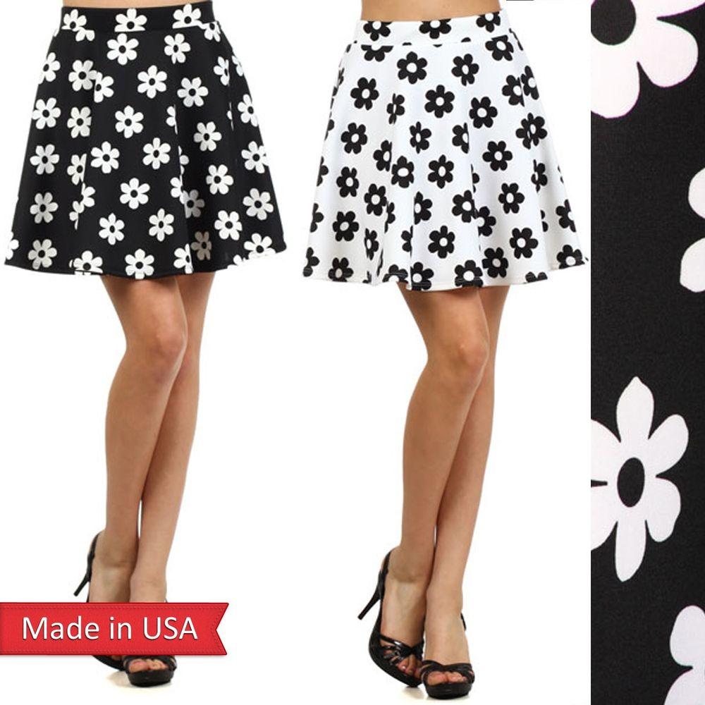 New Flower Floral Print Black White Chic Girl Skater Mini Flair A Line Skirt USA