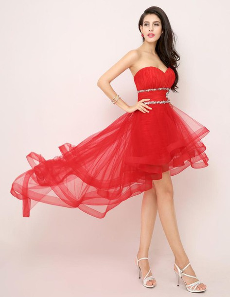 Red Ruffle Wedding Dress