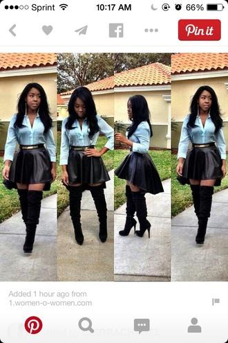 skater skirt leather skirt high low skirt high low