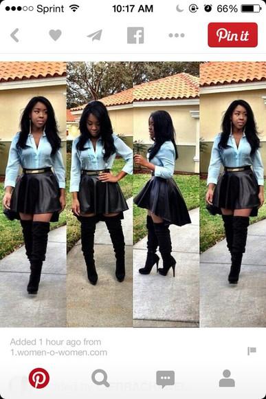 low high skater skirt leather skirt high low skirt