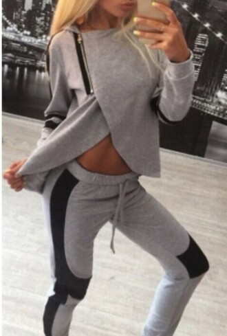 grey grey sweatpants tracksuit joggers zip hoodie grey hoodie blouse tank top