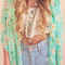 Floral crop sleeves kimono - sky blue - top | lookbook store