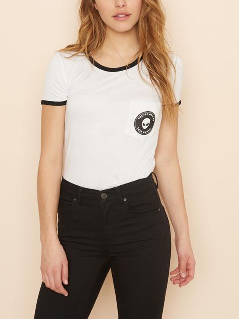 White Contrast Alien Print Pocket T-shirt