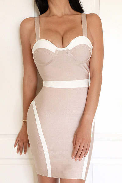 Emmanuelle Colorblock Strappy Bodycon Cocktail Bandage Dress