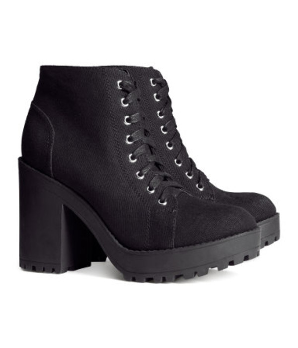 shoes h&m boots canvas chunky boots