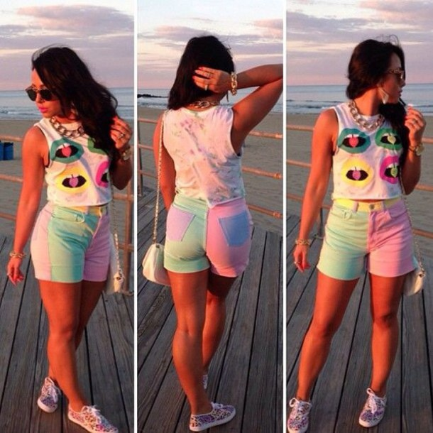 shorts pastel pink mint purple