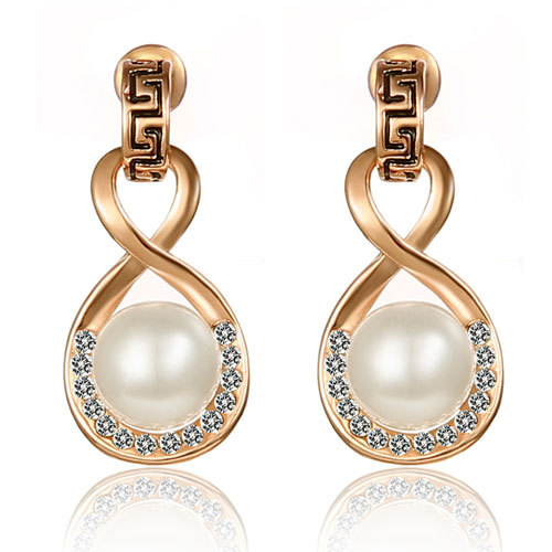 [grxjy5300216]Fashion Rhinestone Pearl Stud Earring