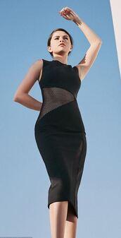 dress,bodycon dress,midi dress,selena gomez,editorial,black dress,mesh dress