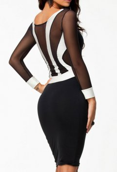 Long Sleeve Black and White Patchwork Midi Bodycon Dress