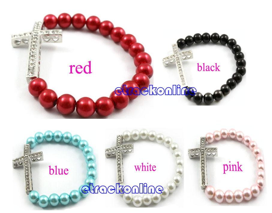 Side Ways Pearl Silver Rhinestone Cross Beaded Elastic Bracelet Stretchy Bangle   eBay