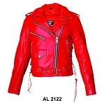 Ladies red traditional leather motorcycle jacket