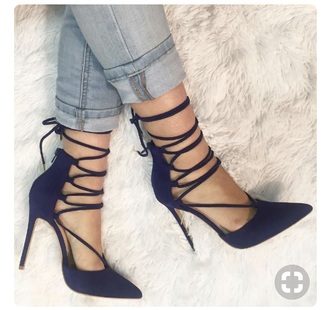 shoes close toe heels lace up navy