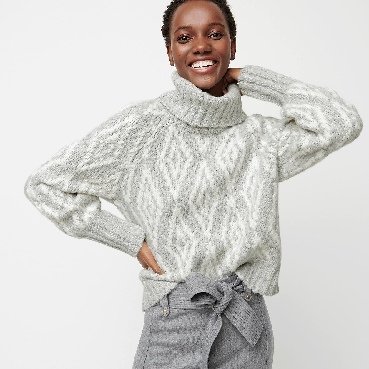Chunky Alpaca Turtleneck Sweater In Fair Isle Diamonds