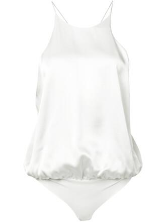 bodysuit women spandex white silk underwear