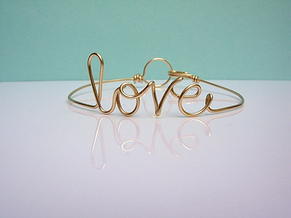Friendship bracelet. love bracelet. gold wire love by isleofagape