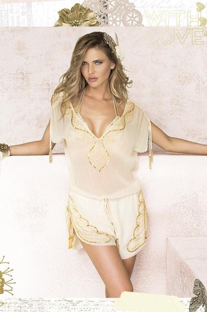 533b3273696 romper gold gold sequins white romper jumpsuit cover up beach shimmering  gold beading shine bikini set