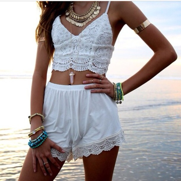 top white triangle bra bustier crop top gypsy boho bralette crochet cute festival outfit hippie vintage shirt crop tops jewels shorts jumpsuit boho chic style fashion