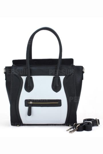 Black White Contrast Smile Face Handbag [FPB736] - PersunMall.com