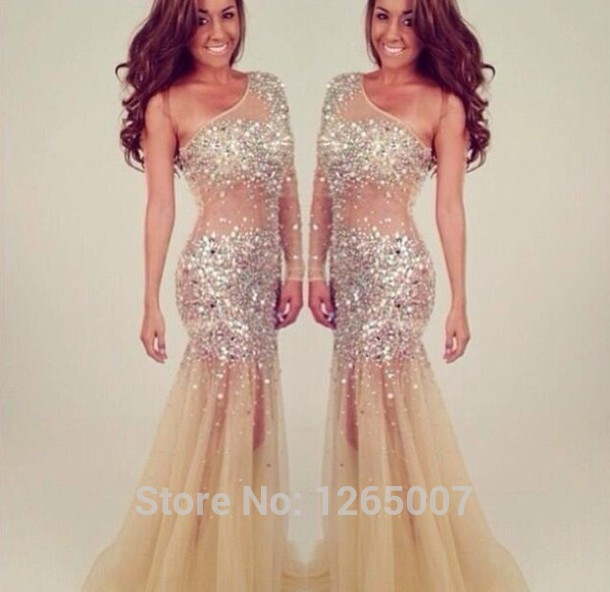 Aliexpress.com : Buy Fashion New Arrival Scoop Neck Long Sleeves Sparkly Golden Sequins Maxi Long Dress Prom Dress Fashion Long Dress from Reliable dress up casual dress suppliers on SFBridal