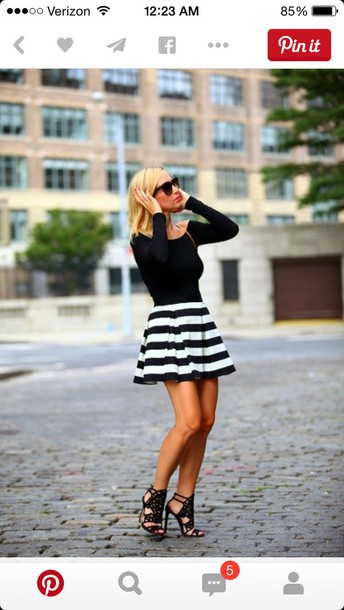 skirt dress stripes black