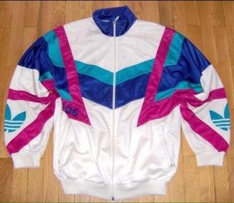 jacket adidas windbreaker vintage old school 90s style icy blue pink purple zipper jacket white
