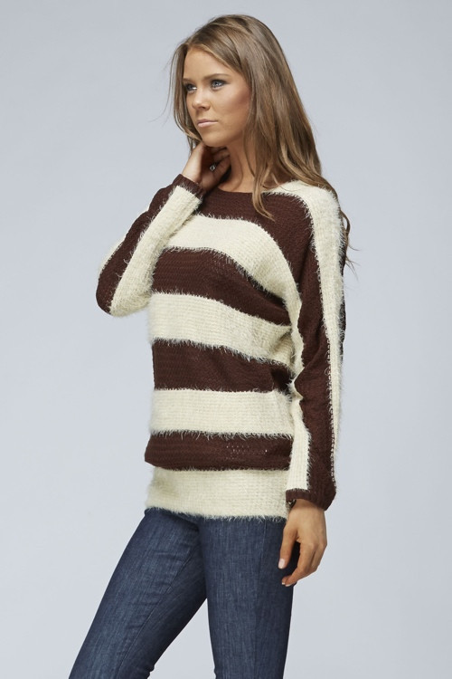 Furry brown striped sweater – betsy boo's boutique