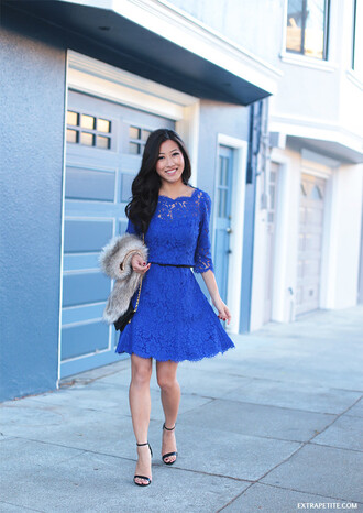 extra petite blogger lace dress blue dress