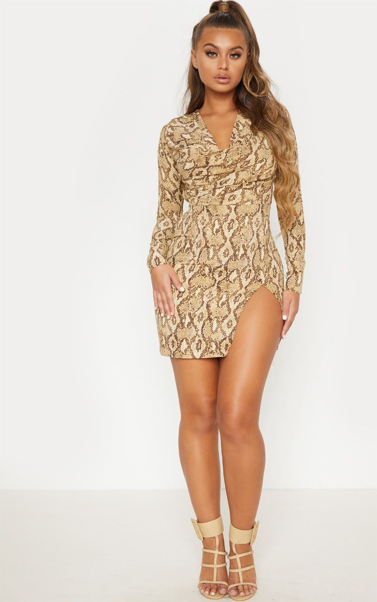 Beige Snake Print Cowl Neck Bodycon Dress