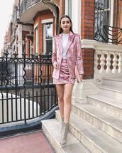 jacket,velvet,pink blazer,pink skirt,mini skirt,double breasted,snake print ankle boots,bag,earrings