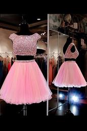 dress,sweet 16 dress dresses,pink dress,hollow dresses,beaded dresses,cap sleeve dresses,bateau dresses,above-knee dresses