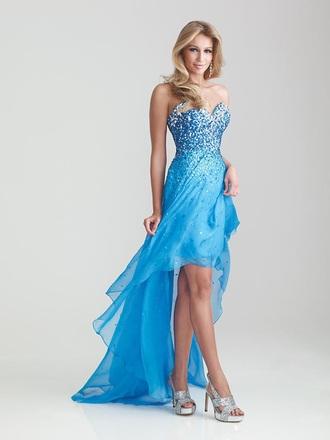 dress seqiun long prom dress blue dress long evening dress