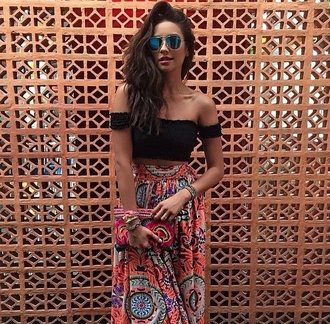 tank top black black top black gypsy top cute top summer skirts floral skirts long skirt maxi skirt red skirt beautiful outfit gypsy top summer tops beautiful outfitt