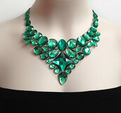 jewels,green,emerald green,bib,necklace,jewelry,rhinestones,wedding,bridal,bridesmaid,etsy