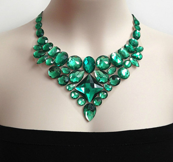 green jewels emerald bib necklace rhinestone wedding clothes bridal bridesmaids etsy