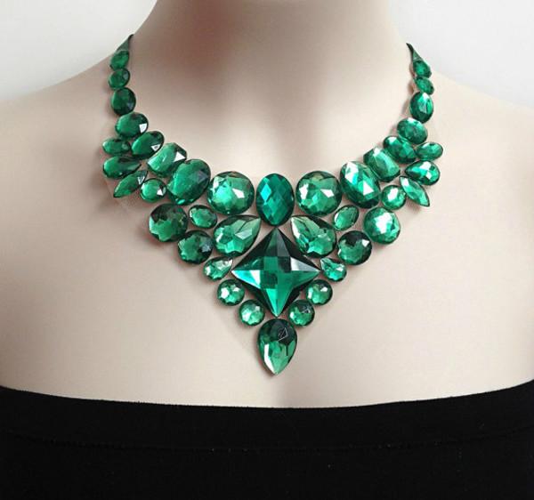 jewels green emerald green bib necklace jewelry rhinestones wedding bridal bridesmaid etsy