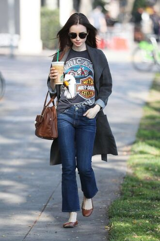 top coat flats lily collins spring outfits streetstyle celebrity