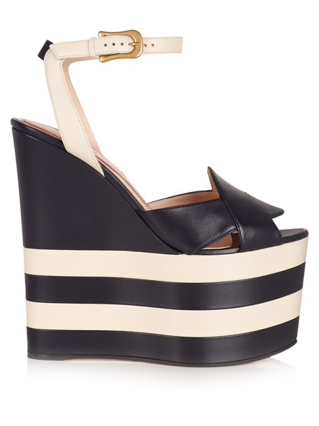 gucci sandals wedge sandals leather white blue shoes
