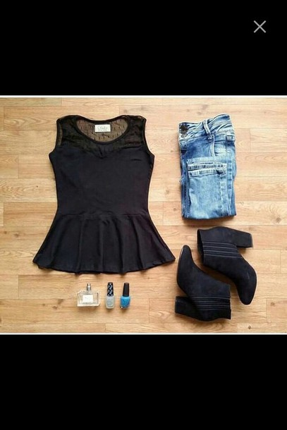 blouse black blue jeans shoes