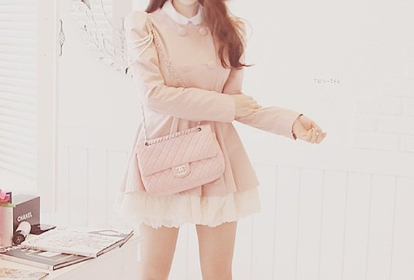 pink jacket pale pink jacket coat pastel jacket pink cute pretty trench girly outfit