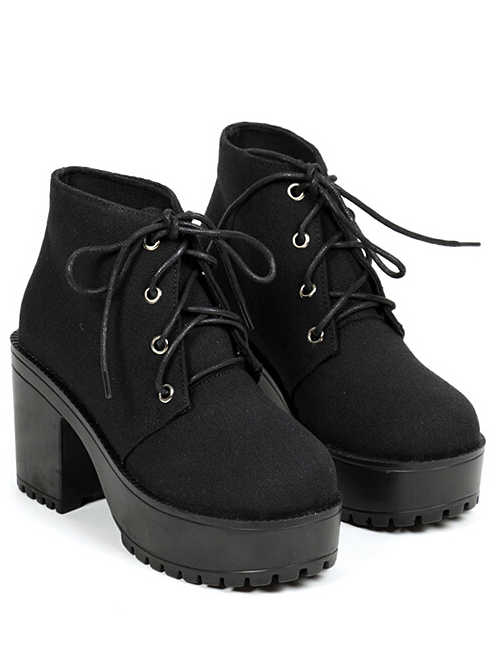 b7625345fd Black Chunky High Heel Casual Boots -SheIn(Sheinside)