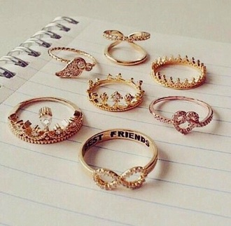 jewels jewelry ring rhinestones gold ring infinity best friends infinity ring