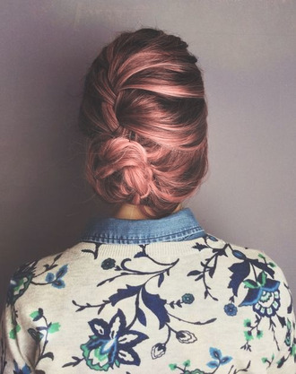 sweater collared shirts jumper floral pastel hair hairstyles date outfit prom beauty pink hair