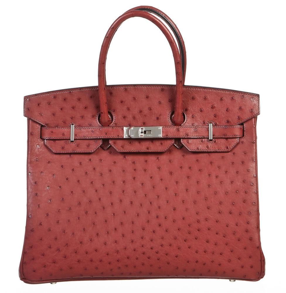 Hermes rouge h (red) ostrich leather 35cm birkin handbag shw new