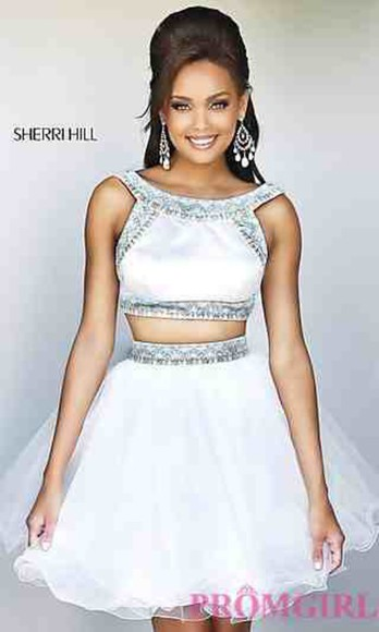 prom dress prom sherri hill sherri hill dress homecoming dress evening/homecoming dresses two-piece short dress prom dresses 2014