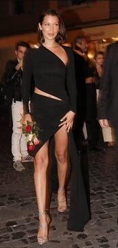 dress,asymmetrical,asymmetrical dress,black dress,bella hadid,model off-duty