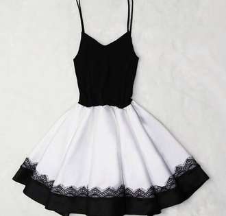 dress black dress white dress mini dress black mini dress white mini dress black white spaghetti strap summer cute girly style spaghetti straps dress