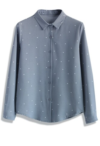 shirt sweet my dots crepe shirt in powder blue chicwish crepe blue