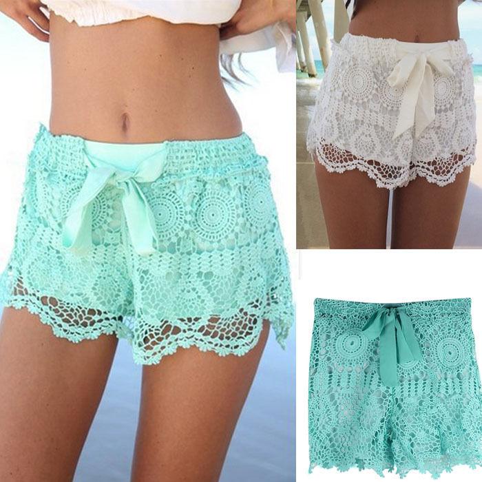 1pc women girl lace hem crochet chiffon belt summer beach shorts pants cuddly